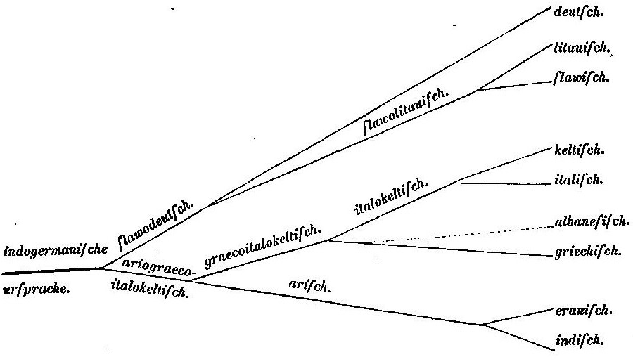 Schleicher's 1861 tree of Indo-European